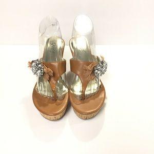Carlos Santana Sparkly Wedge Thong Sandals 7.5M